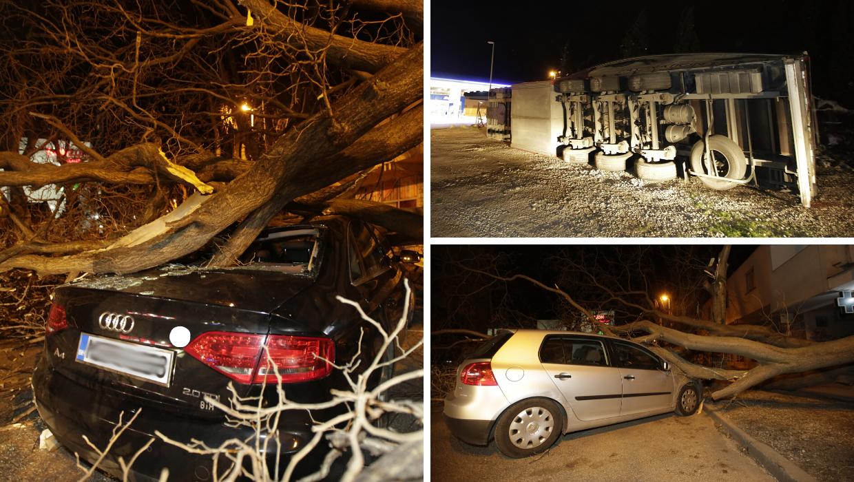 Vjetar poharao Mostar, čupao je  stabla, prevrtao prikolice...