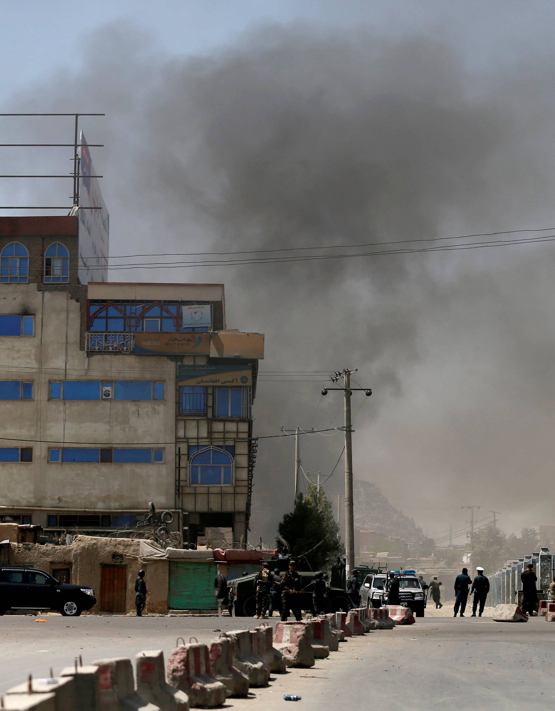 Smoke rises from the site of an attack in Kabul