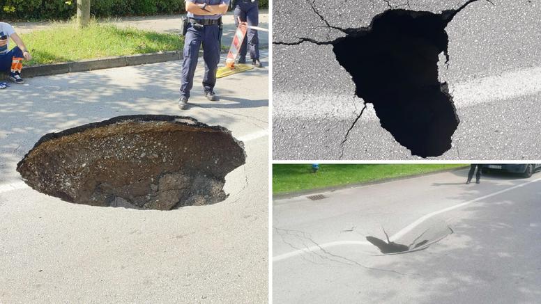 Na Malešnici u Zagrebu otvorila se rupa duboka metar i pol: 'Kombi ju je izbjegao za dlaku!'