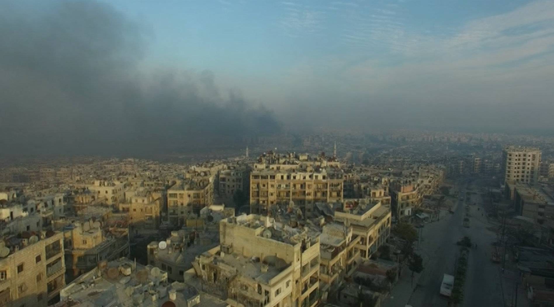 A still image from video taken December 12, 2016 of a general view of the bomb damaged eastern Aleppo, Syria