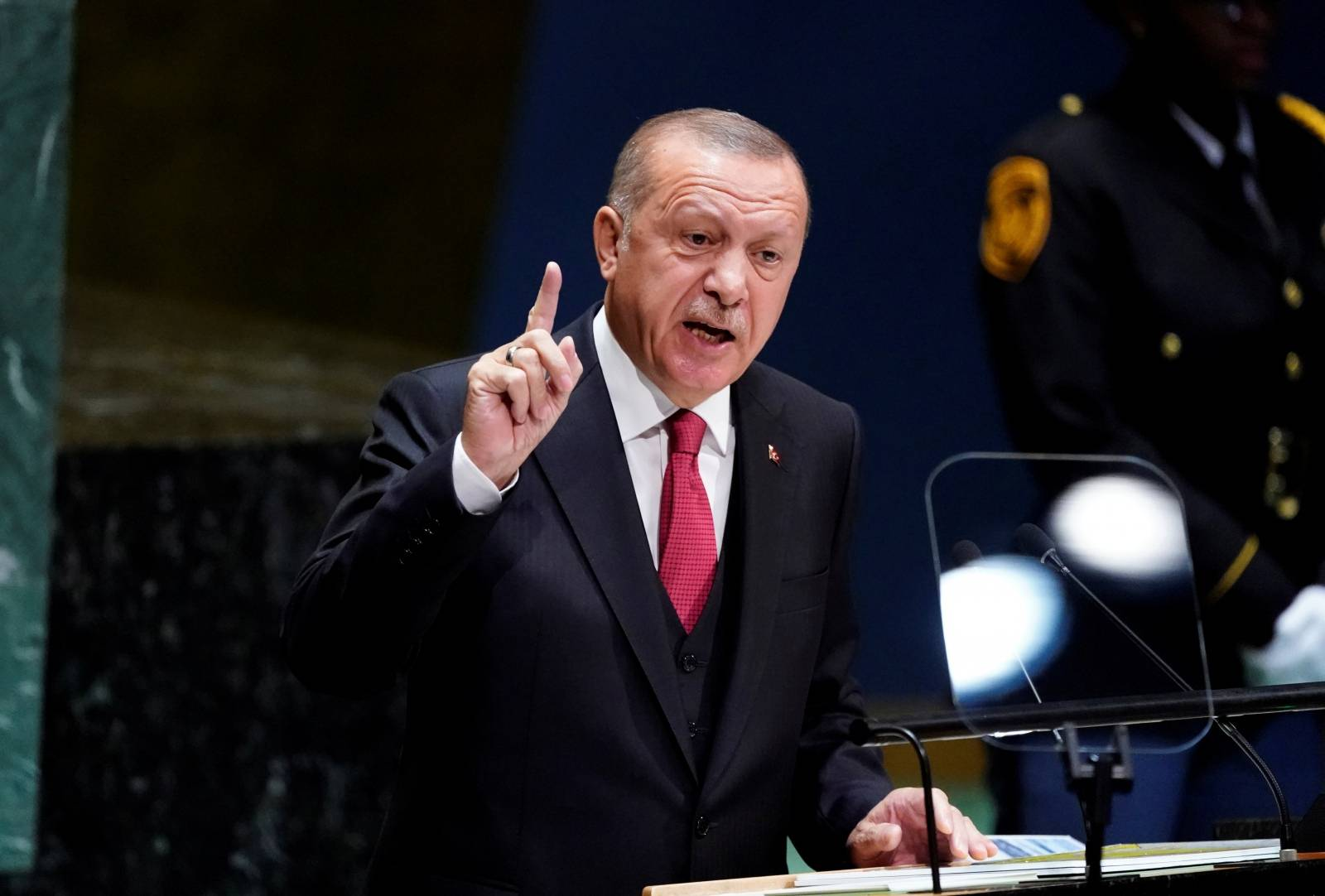 FILE PHOTO: Turkey's President Recep Tayyip Erdogan addresses the 74th session of the United Nations General Assembly at U.N. headquarters in New York City, New York, U.S.