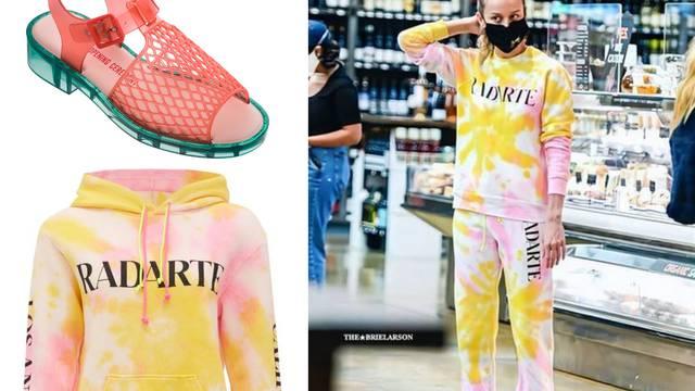 Za kvartovski shopping Brie Larson bira tie-dye trenirku i gumene rupičaste sandale