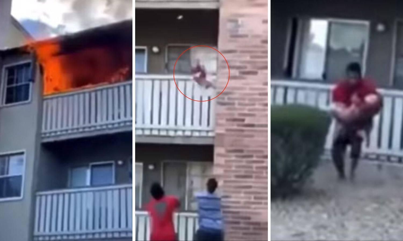 Ulovio dijete u zadnjem trenu: Žena ga bacila iz gorućeg stana