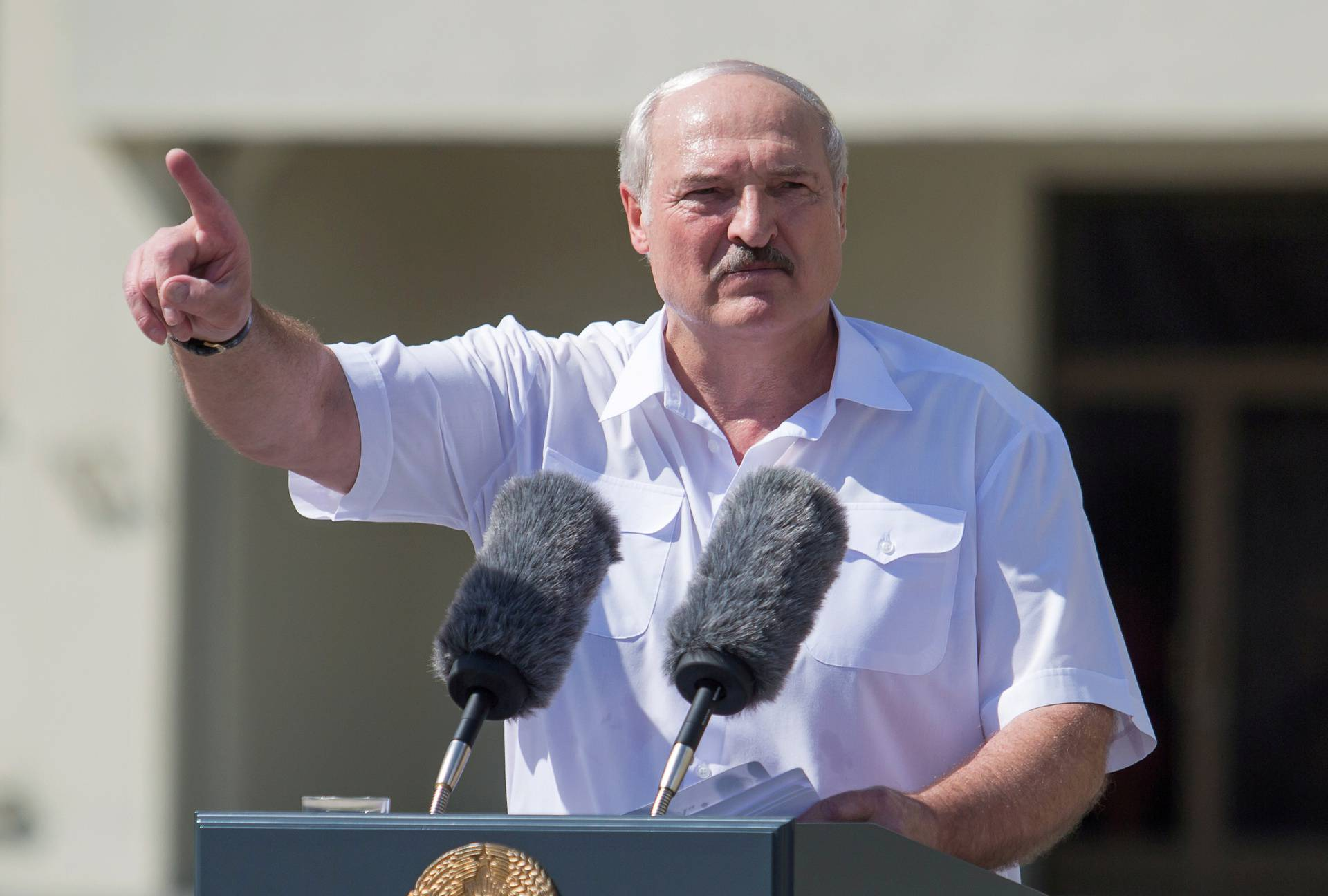 Belarusian President Lukashenko delivers a speech during a rally of his supporters in Minsk