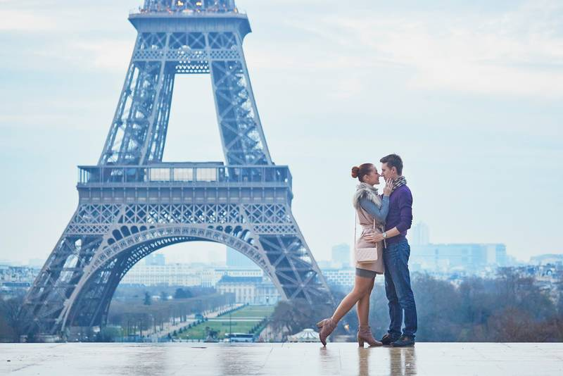 Romantic couple near the Eiffel tower in Paris, France