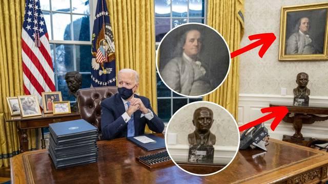 Biden preuredio ured: Franklin unutra, Jacksonova bista van!