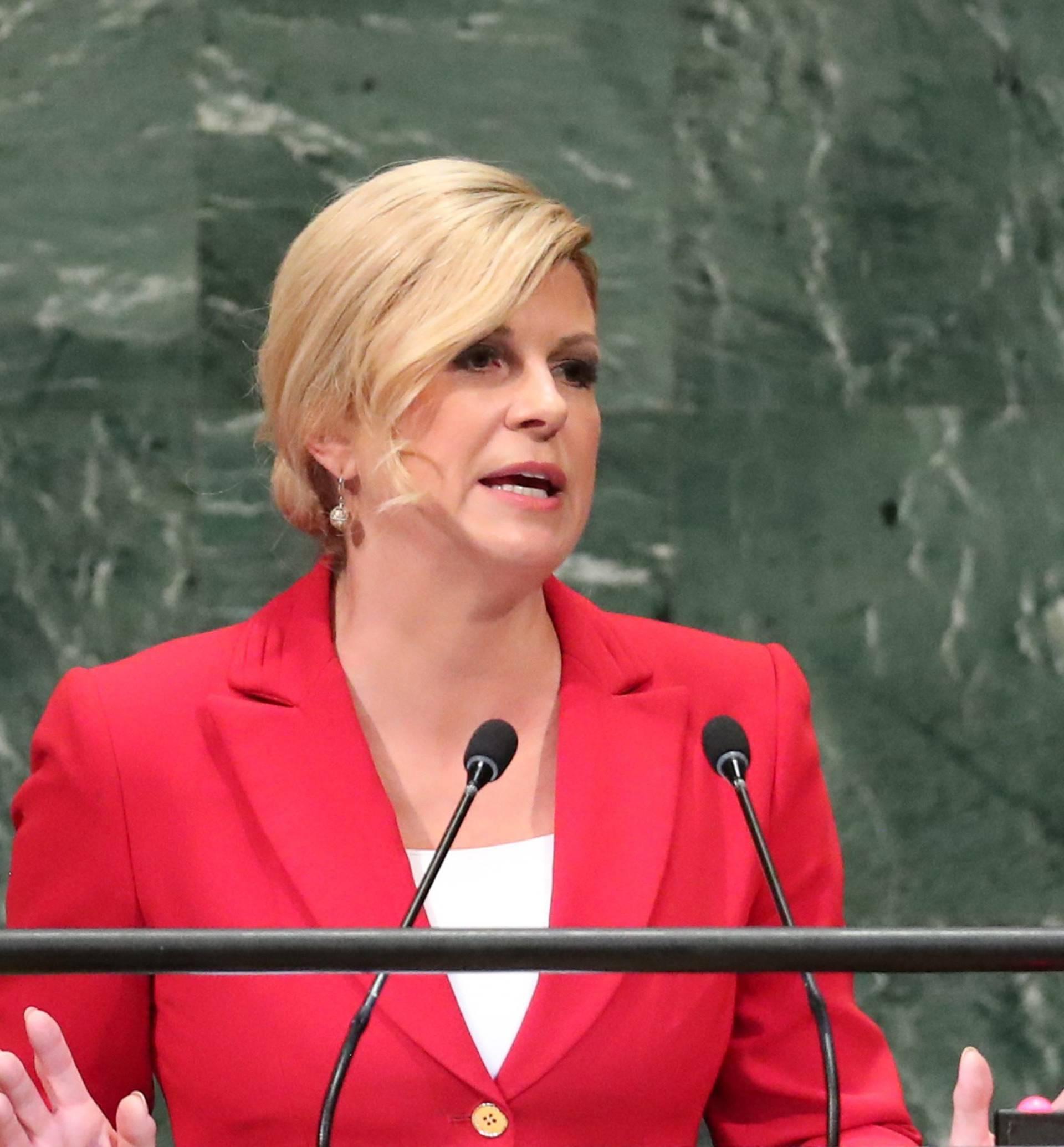 Croatia's President Kolinda Grabar-Kitarovic addresses the United Nations General Assembly in New York