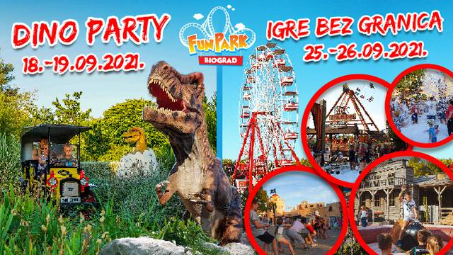 Fun Park Biograd zatvara sezonu uz dinosaure, Igre bez granica, vatromet i lampione!