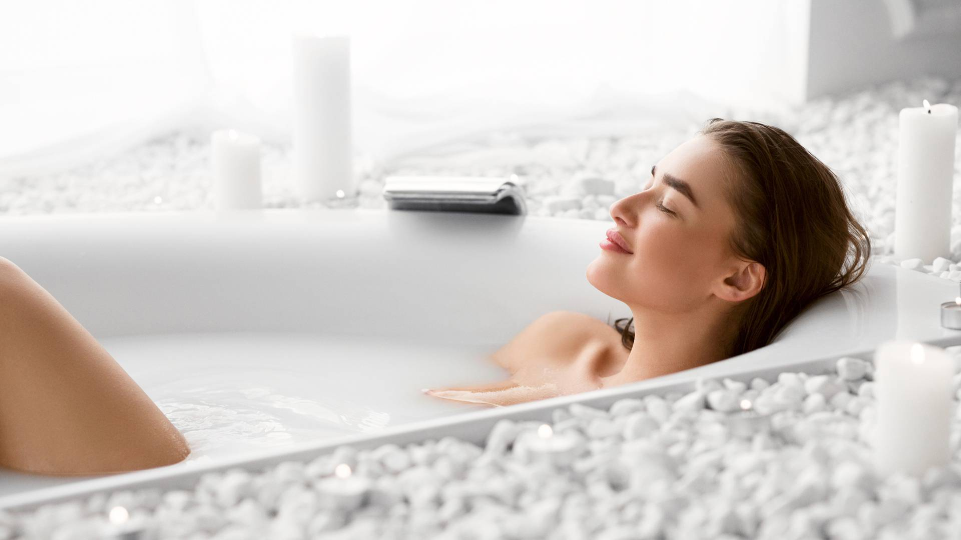 Wellness And Relax Concept. Woman Resting In Bath