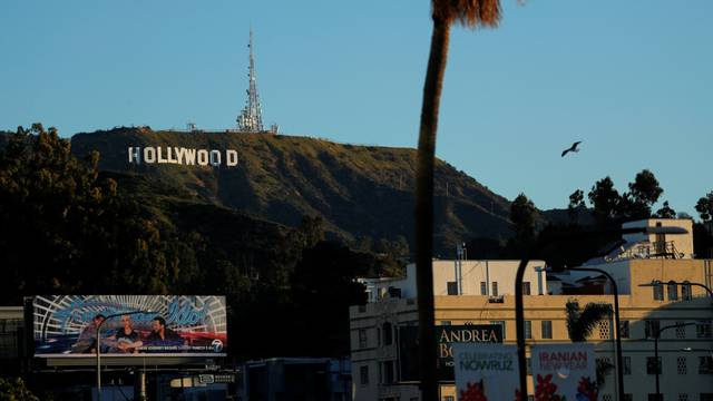 Morning light falls on the iconic Hollywood sign as preparations for the 91st Academy Awards continue in Los Angeles