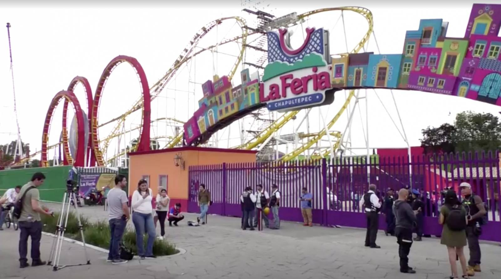 General view of amusement park where rollercoaster accident happened, in Mexico City