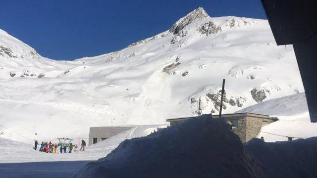 General view of the site of an avalanche across ski piste in Andermatt