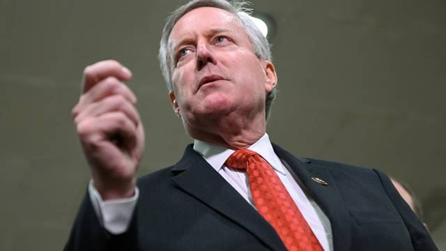 FILE PHOTO:  Sen. Meadows addresses reporters  during a break in the fourth day of the Senate impeachment trial of President Trump