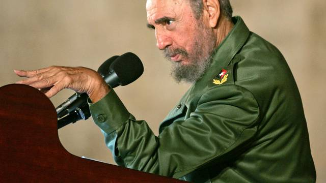 File photo of then Cuban President Fidel Castro addressing the audience during a political rally in celebration of the 12th birthday of Cuban boy Elian Gonzalez in Cardenas
