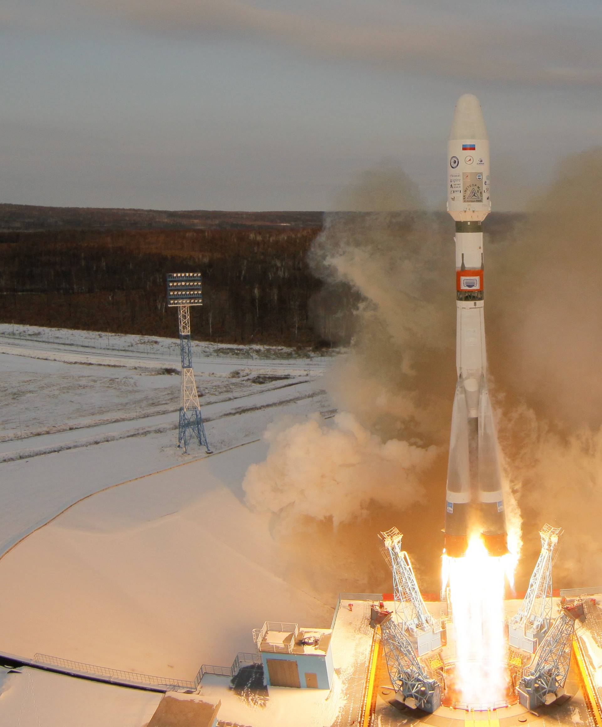 The Souyz-2 spacecraft with Meteor-M satellite and 18 additional small satellites launches from Russia's new Vostochny cosmodrome, near the town of Tsiolkovsky in Amur region