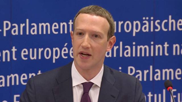 Facebook's CEO Mark Zuckerberg answers questions about the improper use of millions of users' data by a political consultancy, at the European Parliament in Brussels