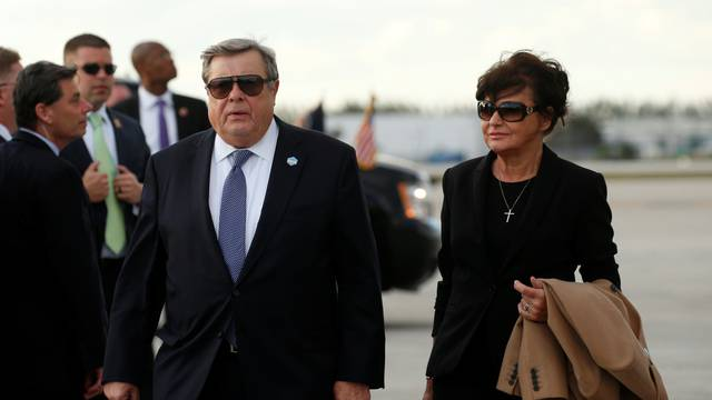 Parents of Melania Trump, Viktor and Amalija Knavs, walk from Air Force One upon their arrival in West Palm Beach