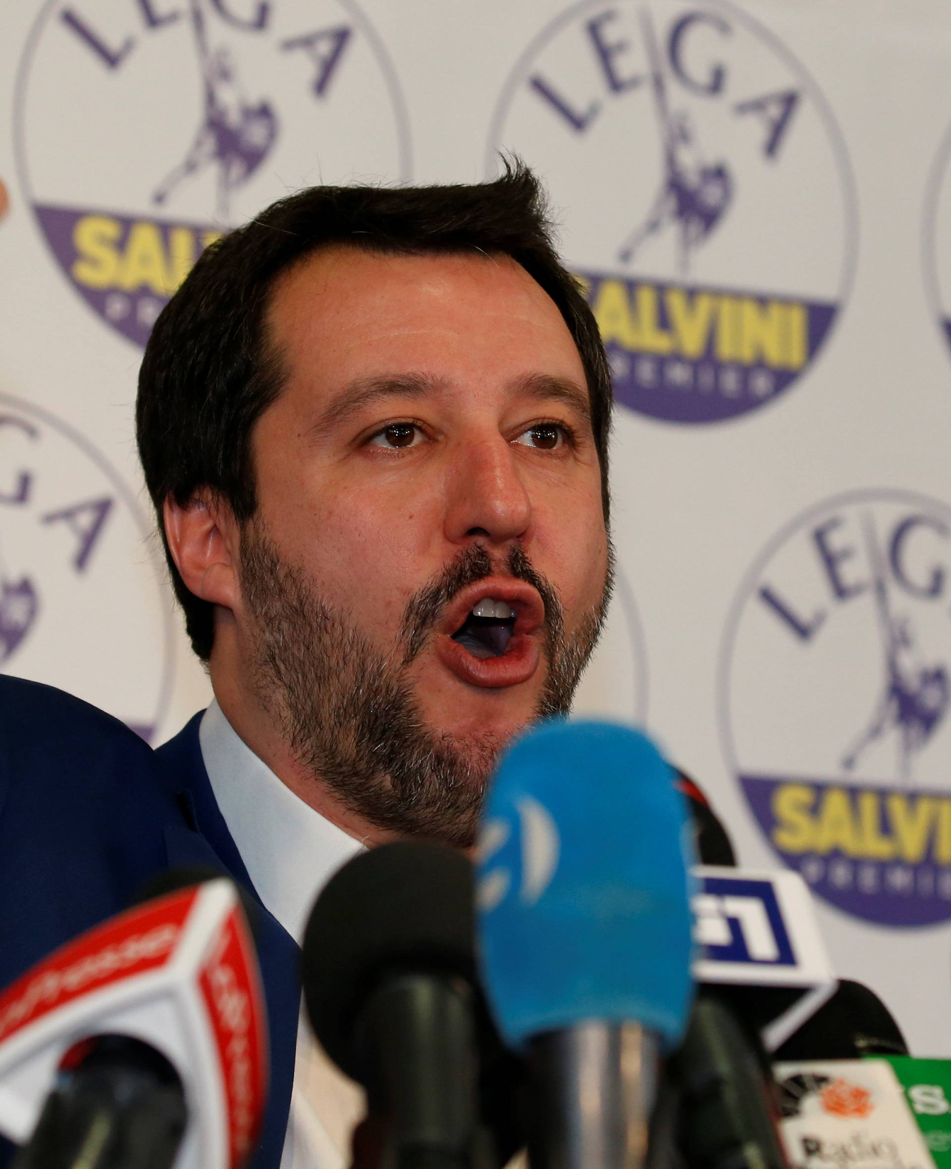 Northern League party leader Matteo Salvini talks during a news conference, the day after Italy's parliamentary elections, in Milan