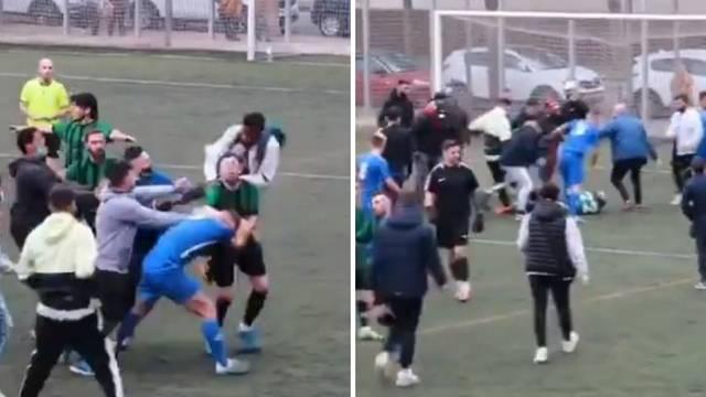 Kakva makljaža u Španjolskoj! Igrači se potukli, uletjela i publika, a sudac samo gledao