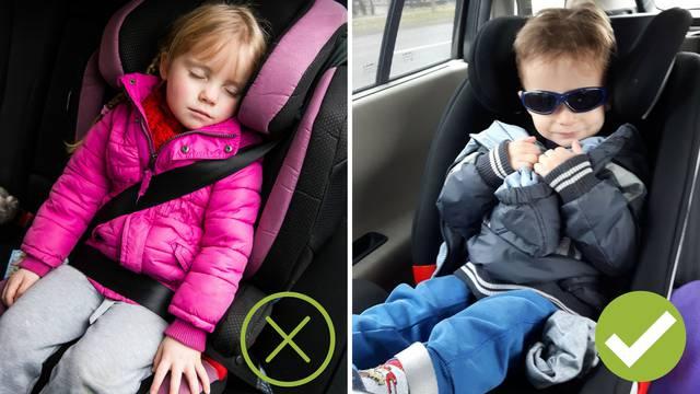 Nikad ne stavljajte djecu u autosjedalicu u zimskoj jakni!