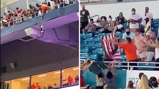 VIDEO Nevjerojatna snimka s utakmice: Maca pala s tribine, majstori je uhvatili u zastavu