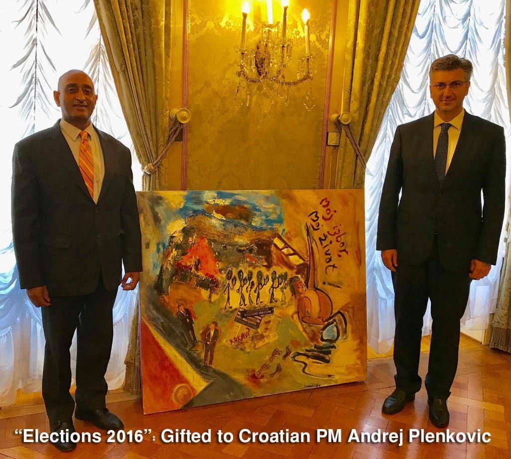 Naslikao ju je: Kolinda dobila portret od veleposlanika Indije
