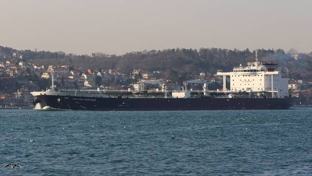 Oil tanker British Heritage sails in the Bosphorus, on its way to the Black Sea, in Istanbul