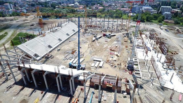 Pogled iz zraka na gradilište novog stadiona NK Osijek na Pampasu