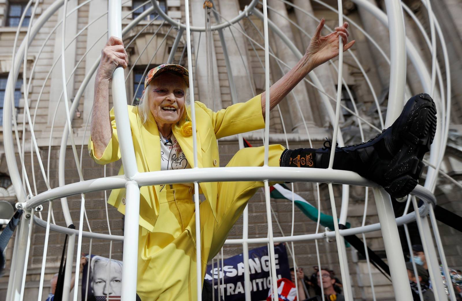 Vivienne Westwood demonstrates outside the Old Bailey in support of Julian Assange, in London