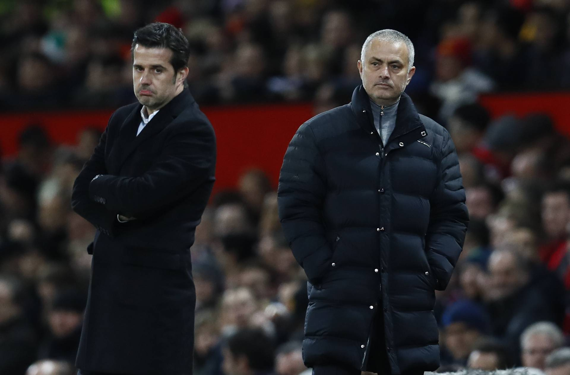 Manchester United manager Jose Mourinho and Hull City manager Marco Silva