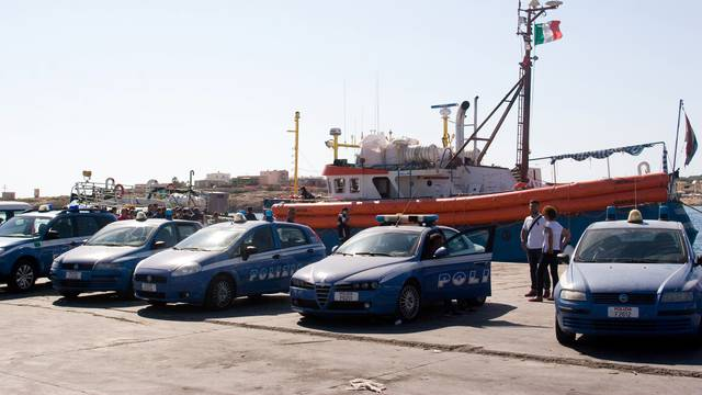 "Italian police stand around the German NGO Jugend Rettet ship ""Juventa"" in Lampedusa harbour, Italy"