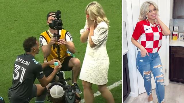 VIDEO Nogometaš je kleknuo u prijenosu i zaprosio Hrvaticu