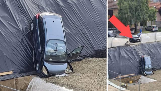 U Osijeku autom probila ogradu pa završila 'nosom' u gradilištu, vozačicu je odvela hitna pomoć