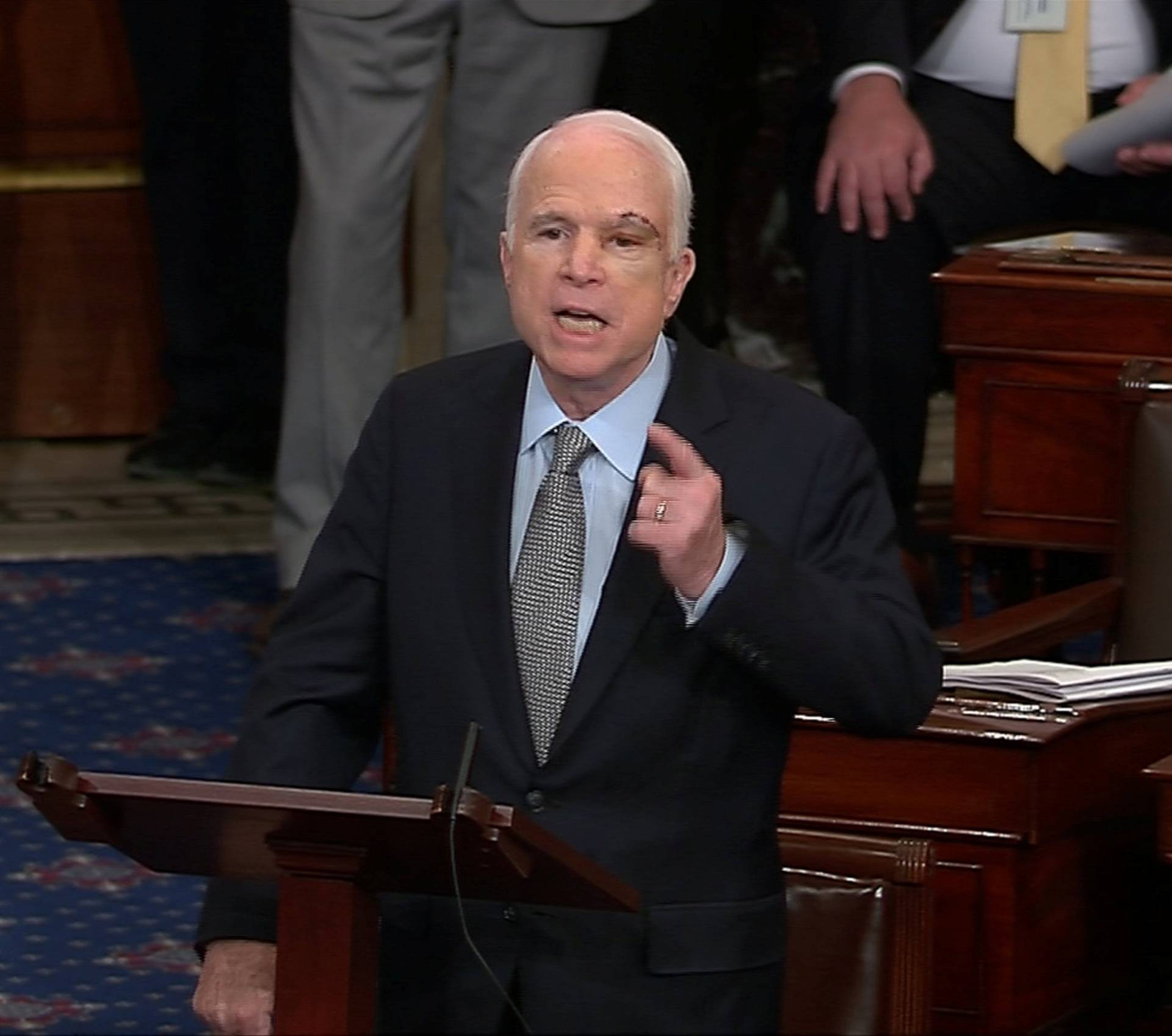 Still image from video shows U.S. Senator McCain speaking on the floor of the U.S. Senate after a vote on healthcare reform in Washington