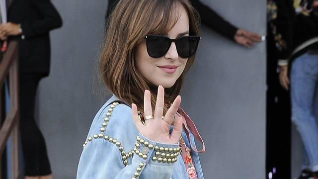 Milan Dakota Johnson at the exit of Gucci's fashion show