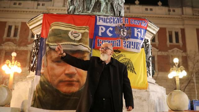 A supporter of former Bosnian Serb general Ratko Mladic shouts slogans during a protest against the verdict of the U.N. Criminal Tribunal for the Former Yugoslavia, in Belgrade
