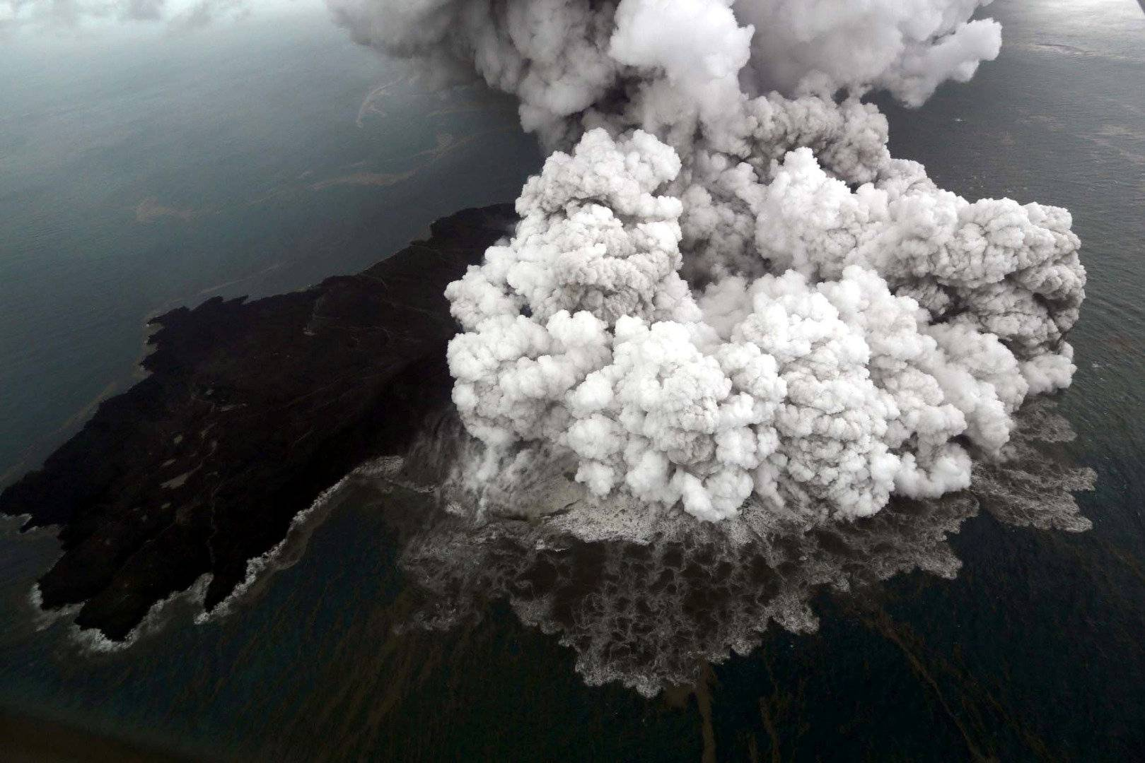 An aerial view of Anak Krakatau volcano during an eruption at Sunda strait in South Lampung