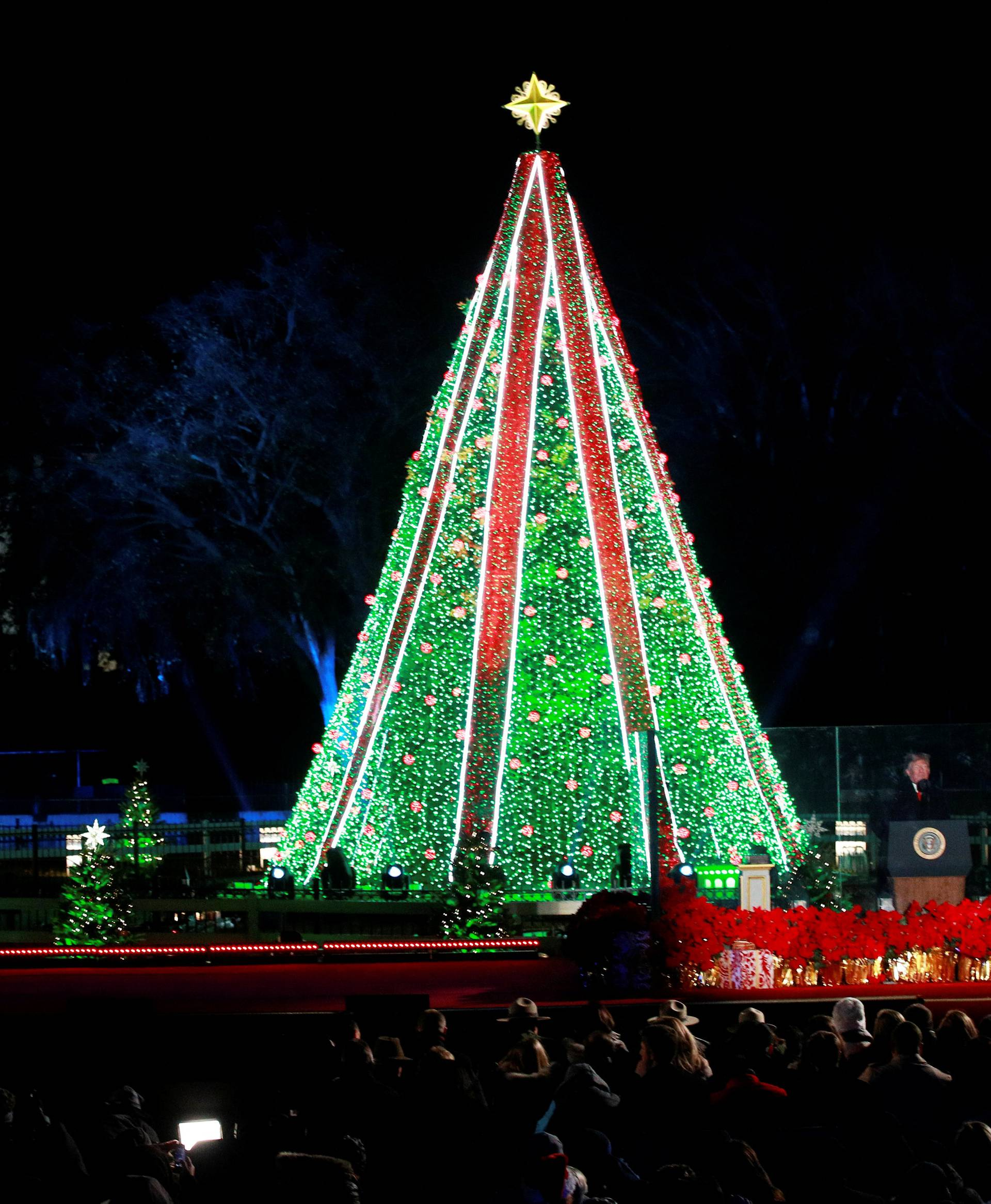 U.S. President Donald Trump and Mrs. Trump participate in 96th annual National Christmas Tree Lighting ceremony in Washington