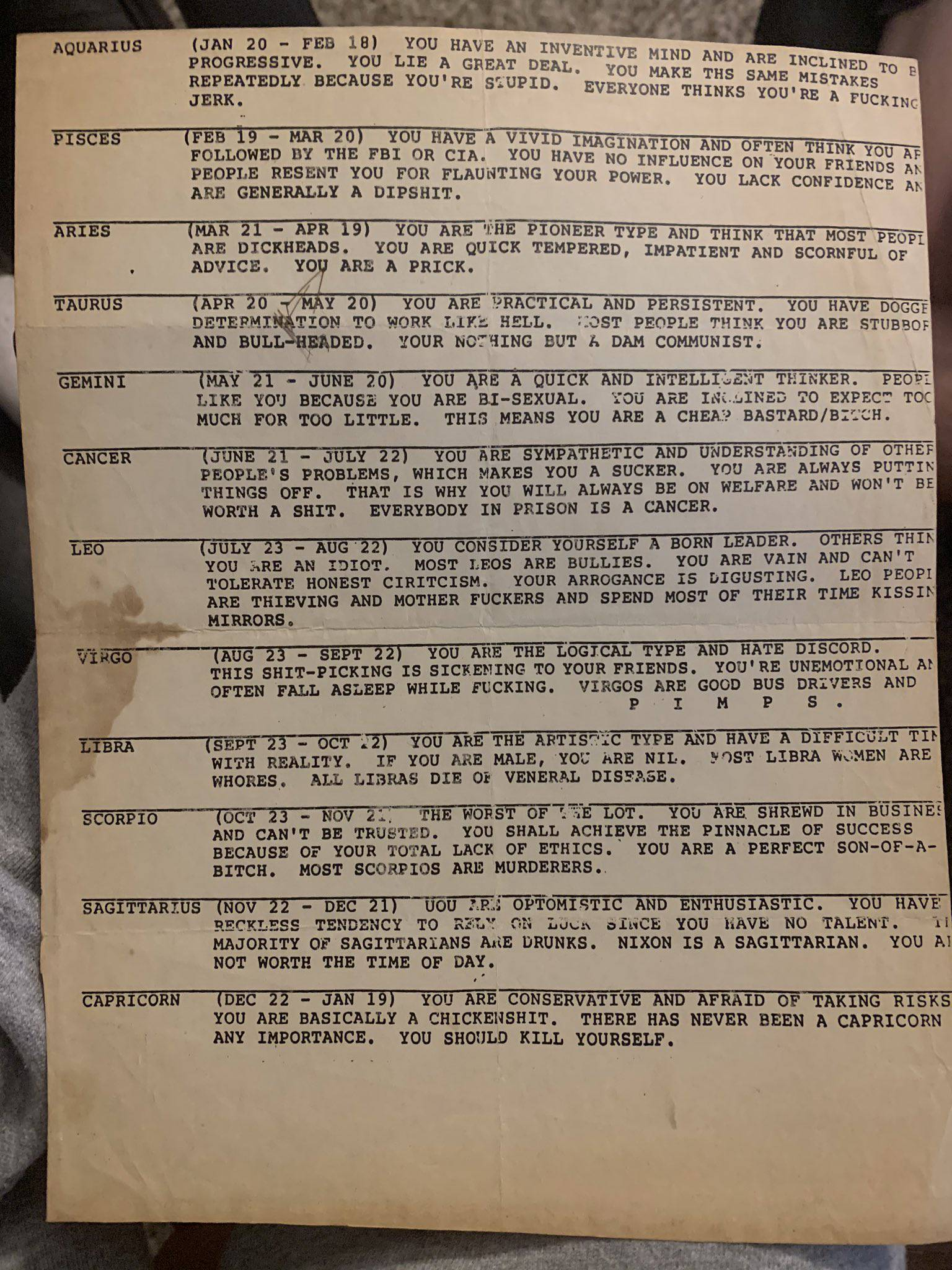 Bizarni horoskop iz 1979.: 'Škorpioni, savršeni k* sinovi', Djevice zaspu tijekom seksa...