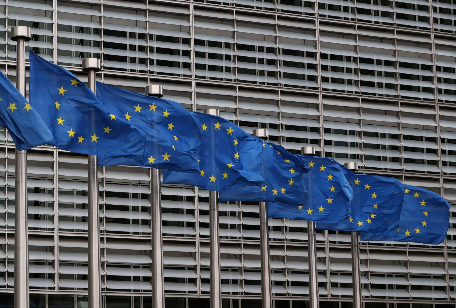 FILE PHOTO: European Union flags fly near the European Commission headquarters in Brussels