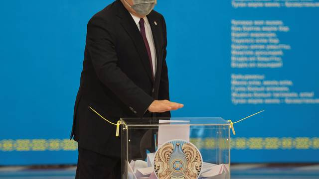 Kazakhstan's Former President Nazarbayev votes during parliamentary election in Nur-Sultan