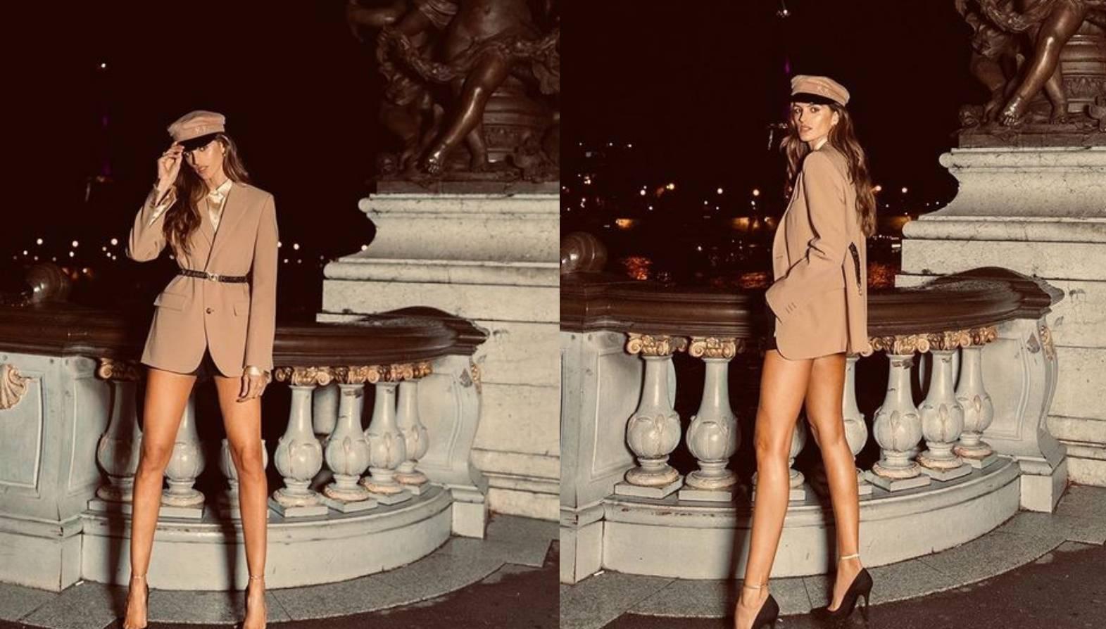 Model Isabel Goulard klasičan blejzer nosi i na vruće hlačice