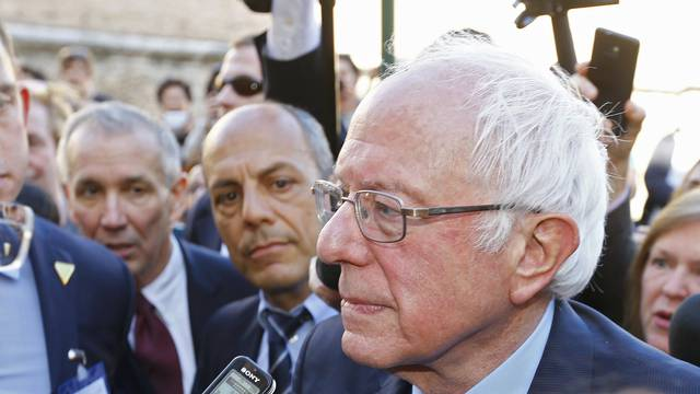 U.S. Democratic presidential candidate Sanders speaks with media and supporters during his visit to the Vatican