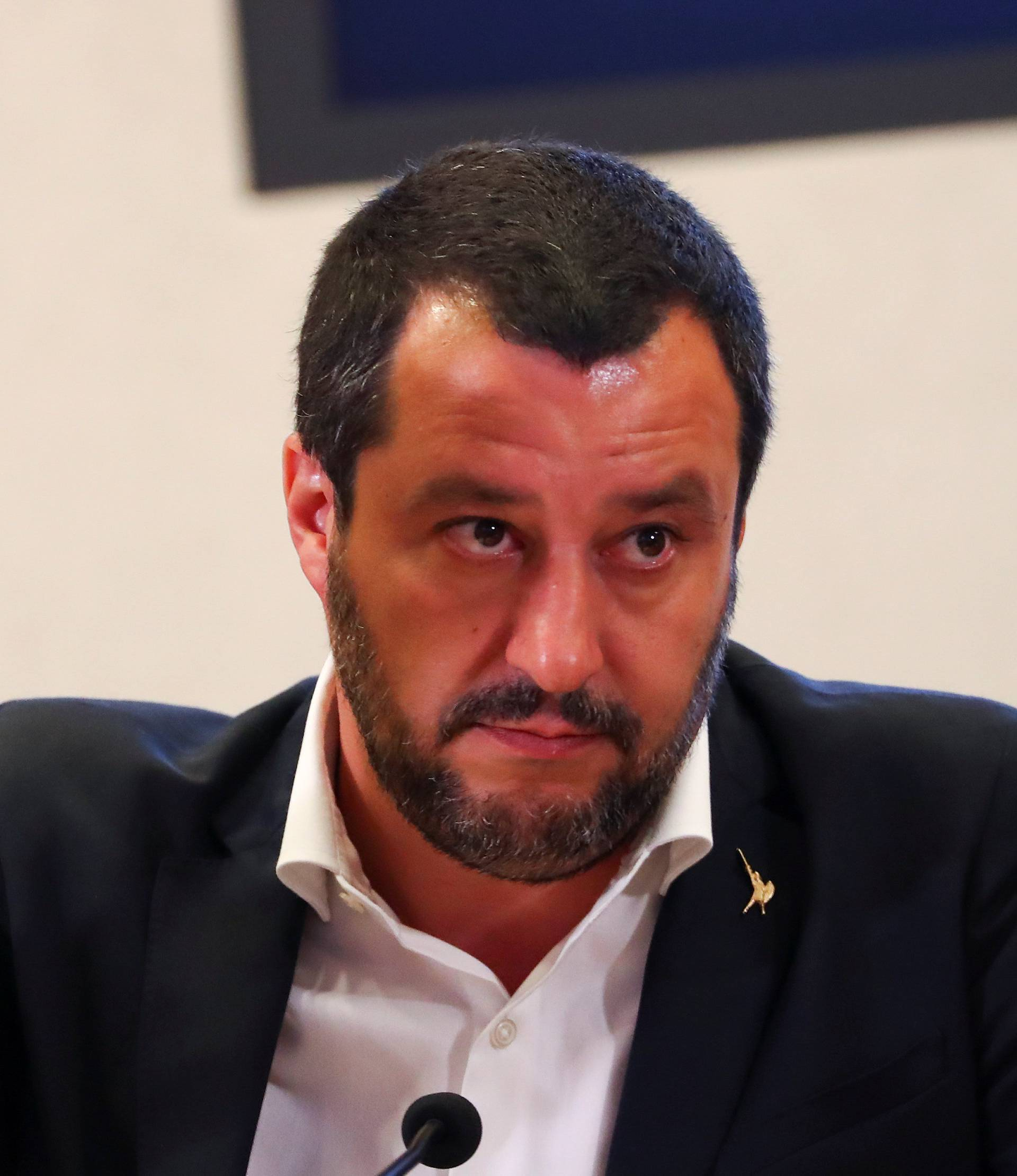 Italian Interior Minister Matteo Salvini gestures during a news conference with Libyan Deputy Prime Minister Ahmed Maiteeg in Rome
