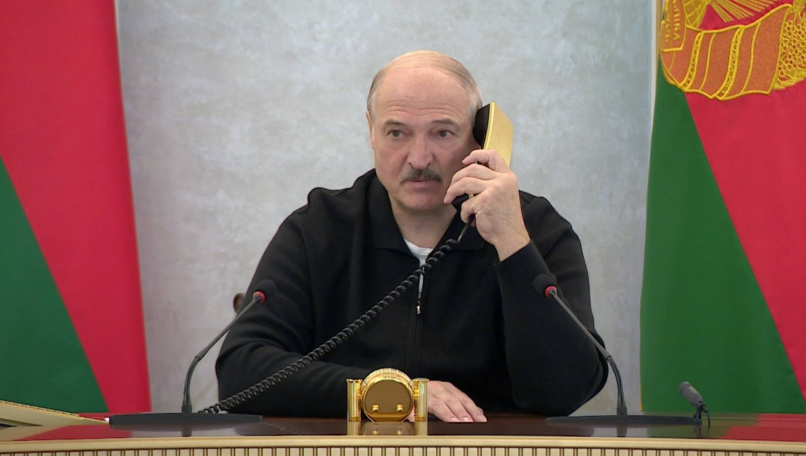Belarusian President Alexander Lukashenko works at the Independence Palace in Minsk