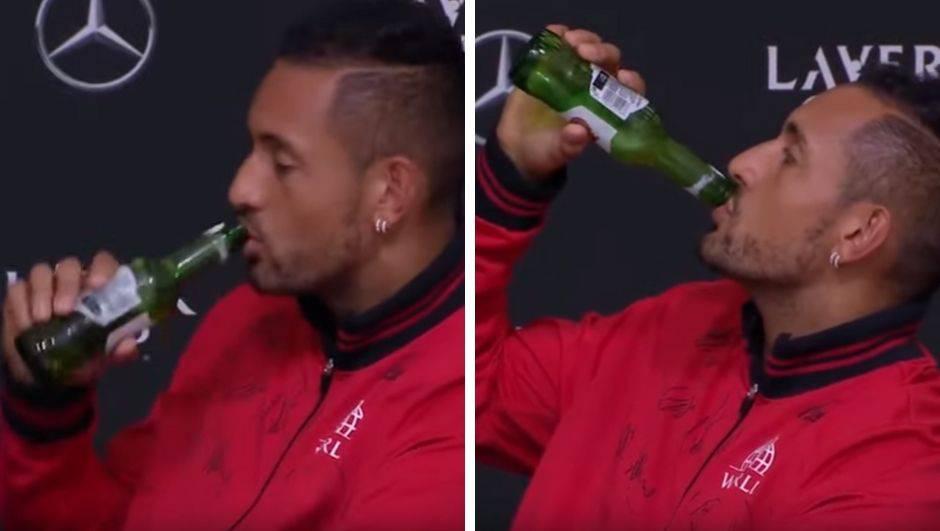 Ček' da gucnem: Ludi Kyrgios pred svima eksirao bocu piva