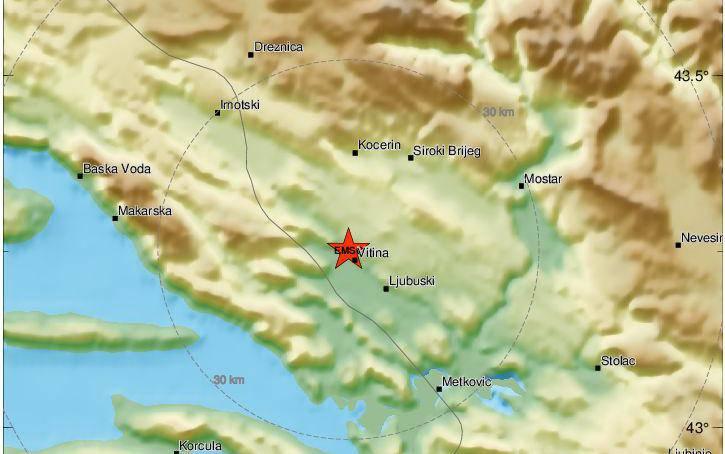 Potres od 3,5 stupnjeva: Treslo na području Makarske i Vrgorca