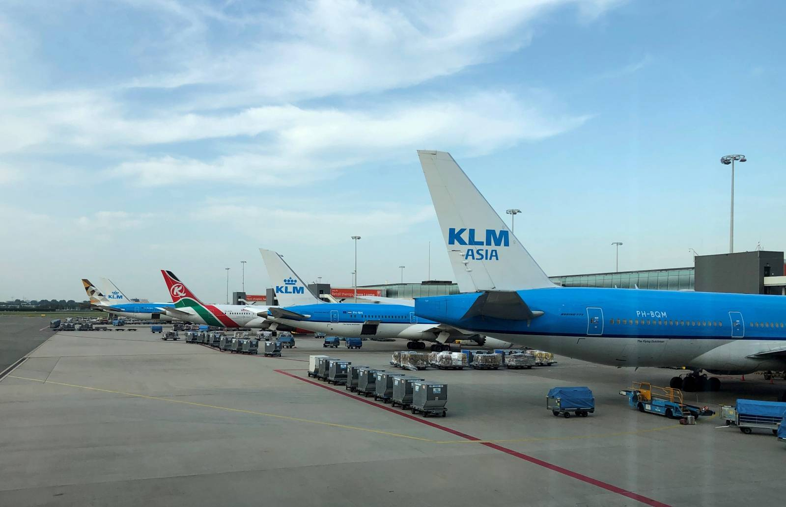 FILE PHOTO: Aircrafts are seen on the tarmac at Amsterdam Schiphol airport