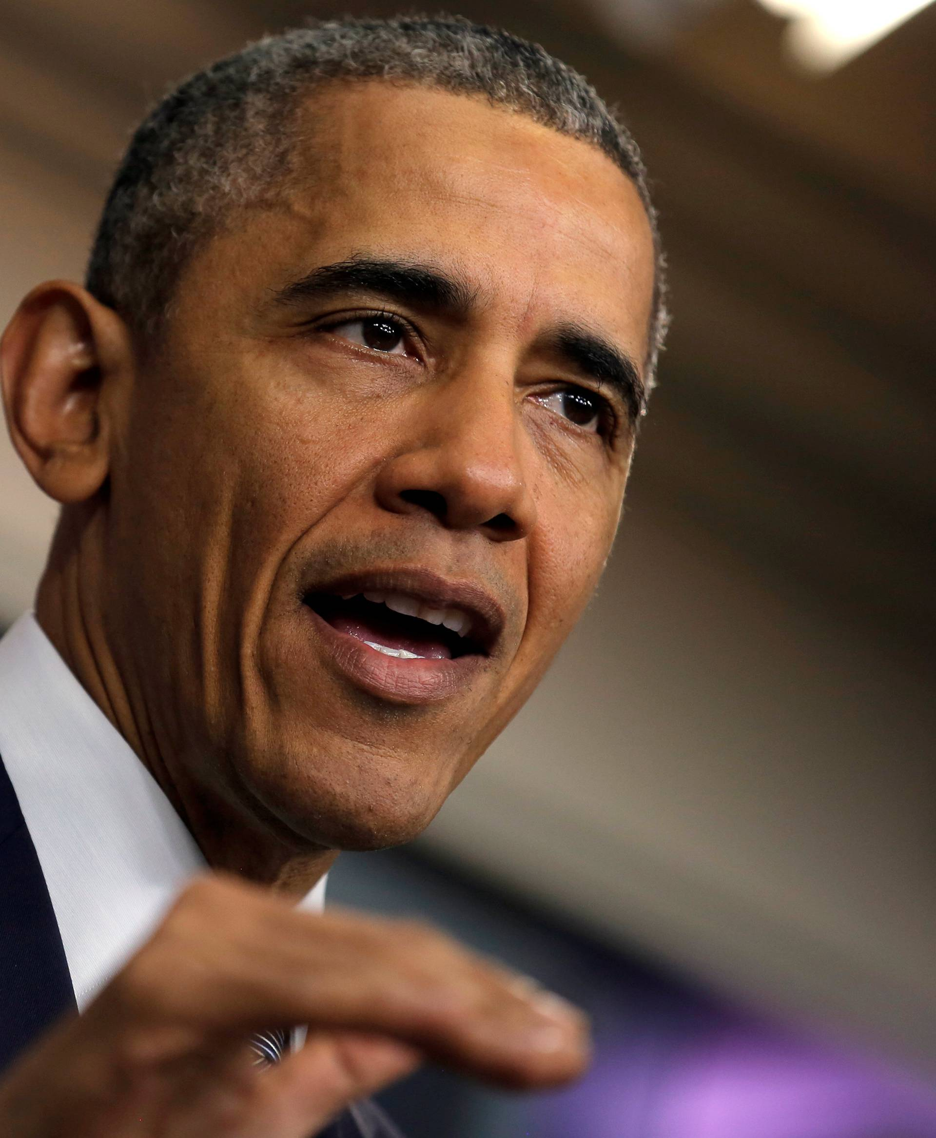 U.S. President Barack Obama delivers a statement on the economy at the press briefing room at the White House in Washington, U.S.