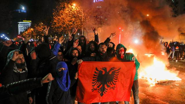Demonstration in reaction to the death of Klodian Rasha in Tirana